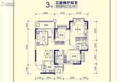 恒大天府半岛3室2厅2卫108平方米户型图