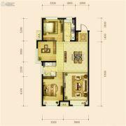 金地檀府3室2厅1卫108平方米户型图