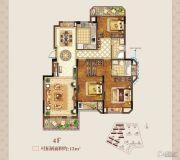 正荣学府壹号3室2厅2卫128平方米户型图