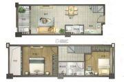 东方骏园2室2厅2卫43平方米户型图