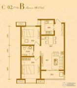 桃园里2室2厅1卫88平方米户型图
