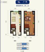 金隅环球中心2室2厅2卫70--75平方米户型图
