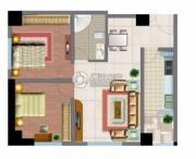 文化空间2室1厅1卫94平方米户型图