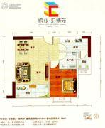 银业・汇博苑1室2厅1卫60平方米户型图