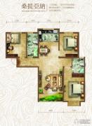 绿朗时光3室2厅2卫130平方米户型图