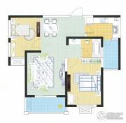富城湾2室2厅1卫87平方米户型图