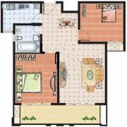 上海建筑2室2厅1卫98平方米户型图