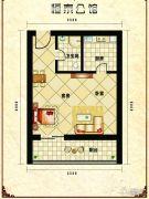 恒泰公馆1室1厅1卫44平方米户型图