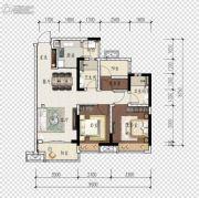 旭辉江山2室2厅2卫88平方米户型图