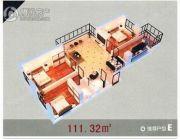 龙溪第3室1厅1卫111平方米户型图