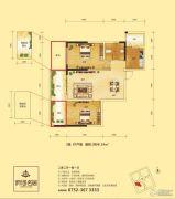 府河名居2室2厅1卫88平方米户型图