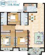 金湖・新天地3室2厅2卫119平方米户型图