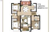 上海公馆旗舰版3室2厅2卫113平方米户型图