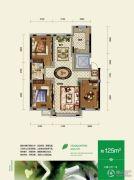 总部生态城・璧成康桥3室2厅1卫125平方米户型图