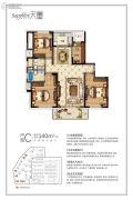 耀达天玺4室2厅2卫140平方米户型图