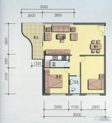 海岸国际假日花园2室2厅1卫87平方米户型图