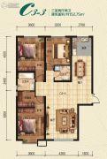 瀚星华府3室2厅2卫152平方米户型图