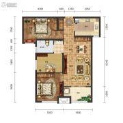 保利中心3室2厅1卫96平方米户型图