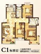 格林春天3室2厅1卫107平方米户型图