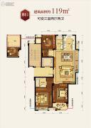 滨江德信东方星城3室2厅2卫119平方米户型图