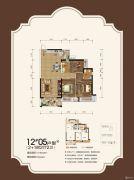 观天下2室2厅2卫106平方米户型图