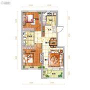 越秀星汇蓝海2室2厅1卫80平方米户型图