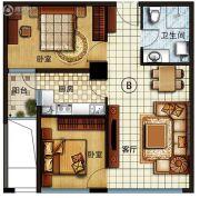 长安公馆2室2厅1卫82平方米户型图