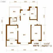 西山庭院二期花石匠2室2厅1卫105平方米户型图
