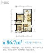 南海之滨2室2厅1卫86平方米户型图