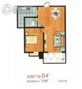 盛祥佳苑1室1厅1卫74平方米户型图