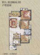 万科华府3室2厅1卫85平方米户型图