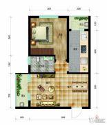 帝王国际1室2厅1卫63平方米户型图