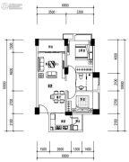 华发城建未来荟2室2厅1卫0平方米户型图