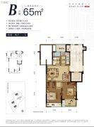 绿城桃源小镇2室2厅1卫65平方米户型图