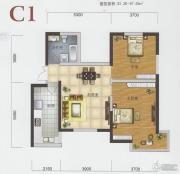渤海明珠2室2厅1卫92平方米户型图