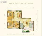 中海右岸3室2厅1卫87--104平方米户型图
