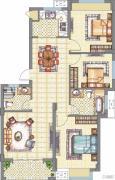梧桐公馆3室2厅2卫108平方米户型图
