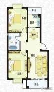 城南春天2室2厅1卫85平方米户型图