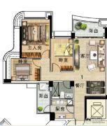 雅居乐新城湾畔3室2厅1卫103平方米户型图
