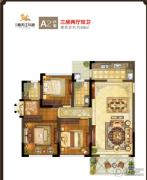 鸿通・春天江与城3室2厅2卫88平方米户型图