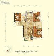 前川欣城二期3室2厅2卫114平方米户型图