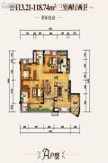 国兴北岸江山3室2厅2卫118平方米户型图