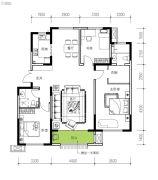 民生城・逸兰汐3室2厅2卫124平方米户型图