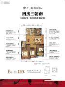 中天富春诚品4室2厅2卫0平方米户型图