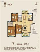 建业西城森林半岛二期・云熙府3室2厅1卫135平方米户型图