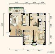 明发城市广场3室2厅1卫105平方米户型图