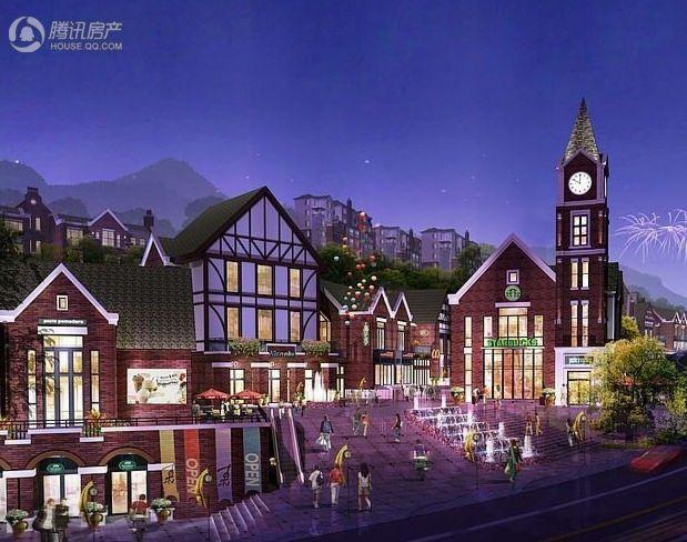 天籁谷国际度假区一期商业夜景效果图