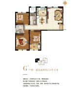 东湖方舟3室2厅2卫124平方米户型图