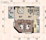 悦尚公馆2室2厅1卫87平方米户型图