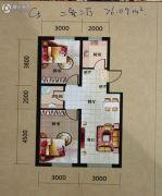 辽阳第一城2室2厅1卫76--77平方米户型图